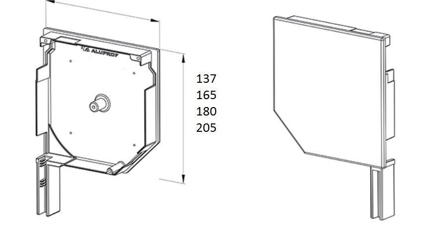 Rysunek techniczny boczków rolety zewnętrzne 137,165,180, 205