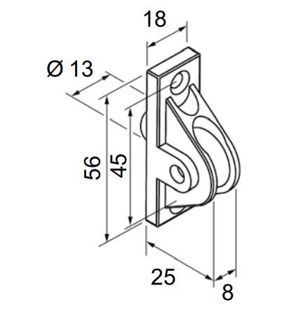 Rysunek techniczny przelotki do rolety zewnętrznej