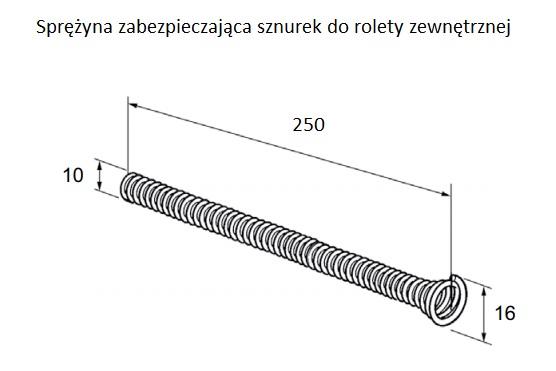 Rysunek techniczny sprężyny zabezpieczającej sznurek do rolet zewnętrznych