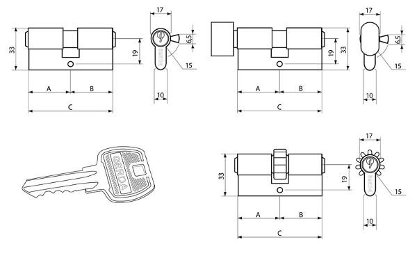 Wkładka gerda na klucz 31 x 56 mm mosiężna wymiary